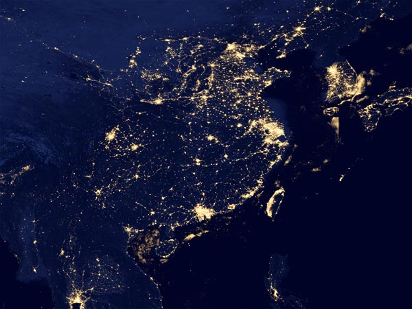 China lights at night